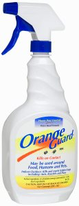 Orange guard ant control spray with d-limonene extract.