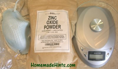 Using non-nano zinc oxide powder for a sunscreen.
